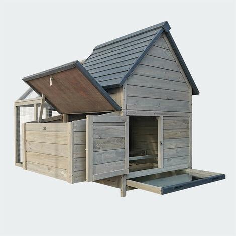 conejera Gallinero 166x118,5x112cm marrón-blanco, caja nido y rueda libre, madera