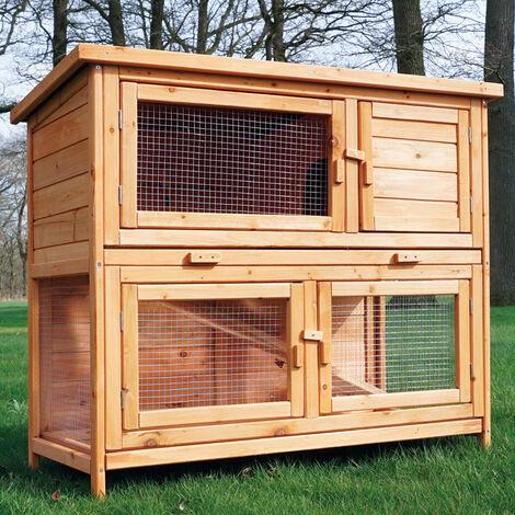 Conejera-gallinero gallinero de madera con nido, casa para conejos con malla metálica para exterior, conejera con base extraíble y cerrojo 104 x 55 x 94 cm