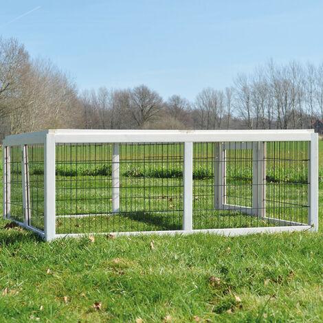 Conejera-gallinero gallinero de madera con nido, casa para conejos con malla metálica para exterior, conejera con base extraíble y cerrojo 116 x 112 x 45 cm