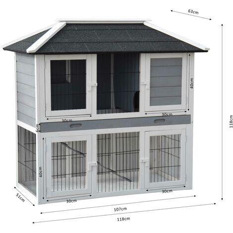 Conejera-gallinero gallinero de madera con nido, casa para conejos con malla metálica para exterior, conejera con base extraíble y cerrojo 123 x 68 x 120 cm