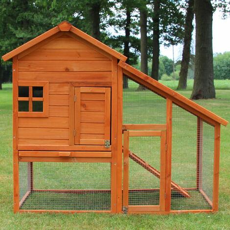 Conejera-gallinero gallinero de madera con nido, casa para conejos con malla metálica para exterior, conejera con base extraíble y cerrojo 138 x 65 x 120 cm
