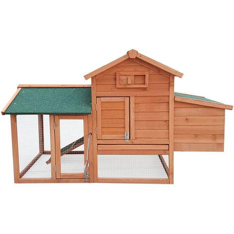 Conejera-gallinero gallinero de madera con nido, casa para conejos con malla metálica para exterior, conejera con base extraíble y cerrojo 143 x 49 x 93 cm