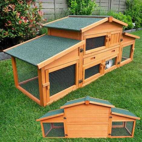 Conejera-gallinero gallinero de madera con nido, casa para conejos con malla metálica para exterior, conejera con base extraíble y cerrojo 180 x 62 x 72 cm