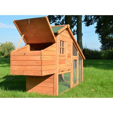 Conejera-gallinero gallinero de madera con nido, casa para conejos con malla metálica para exterior, conejera con base extraíble y cerrojo 190 x 62 x 114 cm