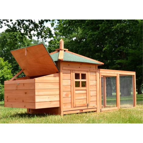 Conejera-gallinero gallinero de madera con nido, casa para conejos con malla metálica para exterior, conejera con base extraíble y cerrojo 195 x 73,5 x 98 cm