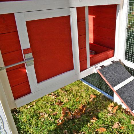 Conejera-gallinero gallinero de madera con nido, casa para conejos con malla metálica para exterior, conejera con base extraíble y cerrojo 200 x 116 x 81 cm (B x T x H)