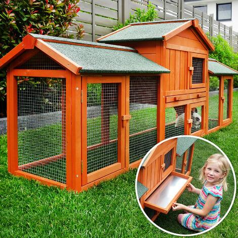 Conejera-gallinero gallinero de madera con nido, casa para conejos con malla metálica para exterior, conejera con base extraíble y cerrojo 210 x 54 x 85,5 cm