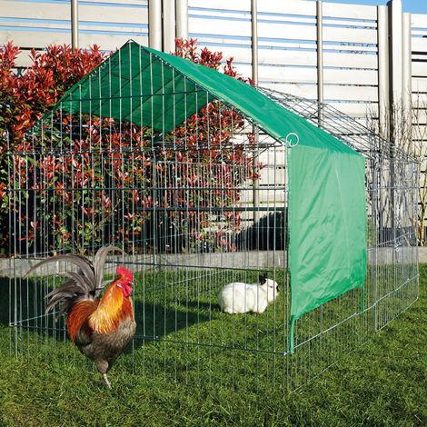 Conejera-gallinero gallinero de madera con nido, casa para conejos con malla metálica para exterior, conejera con base extraíble y cerrojo 2,20 x 1,02 x 0,85 m
