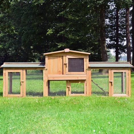 Conejera-gallinero gallinero de madera con nido, casa para conejos con malla metálica para exterior, conejera con base extraíble y cerrojo 220 x 56 x 83 cm