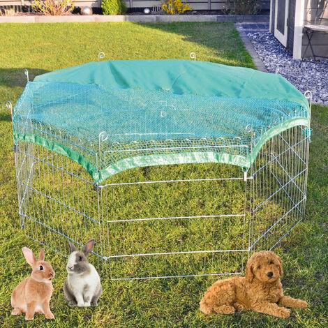 Conejera-gallinero gallinero de madera con nido, casa para conejos con malla metálica para exterior, conejera con base extraíble y cerrojo 60X60 CM