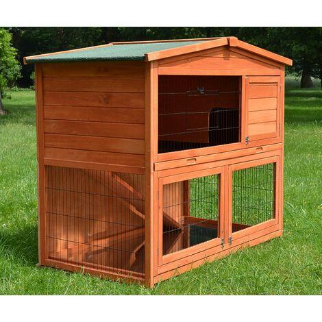 Conejera-gallinero gallinero de madera con nido, casa para conejos con malla metálica para exterior, conejera con base extraíble y cerrojo Besonderheiten: 128 x 64 x 110 cm