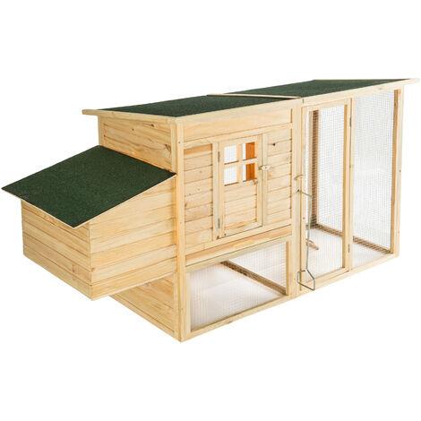Conejera-gallinero Isabella 198x75x102cm - gallinero de madera con nido, casa para conejos con malla metálica para exterior, conejera con base extraíble y cerrojo - marrón