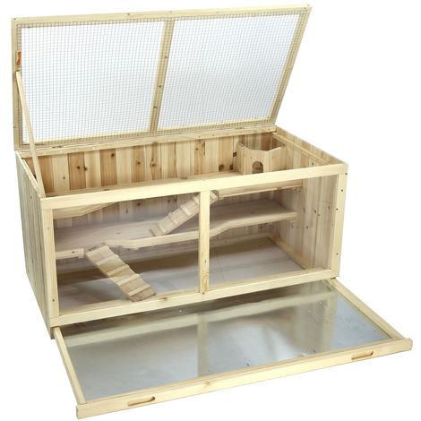 Conejera Gallinero madera de pino impregnada 13,0 x 54,4 x 60,0 cm