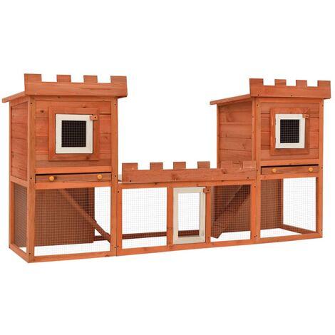 vidaXL Casa grande de animales jaula conejera doble jaula de madera - Marrón
