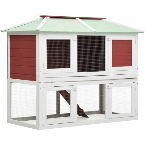 Conejera jaula de animales con doble piso de madera rojo
