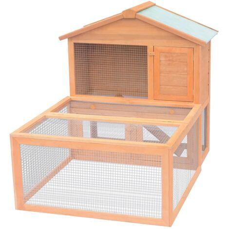 Conejera jaula de animales con patio exterior madera - Marrón