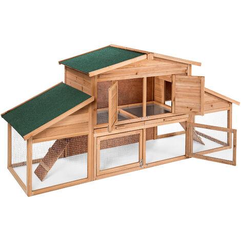 Pawhut Casa para Conejos Cobayas Animales Peque/ños Exterior Conejera Grande de Patas Elevadas 90x45x65cm Color Madera