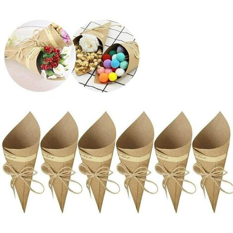 Cônes en papier Kraft vintage, 50 pièces d'emballage de bouquet en papier Kraft, papier Kraft bricolage pour la fabrication de sacs décoratifs pour confettis de mariage, bouquets, bonbons, chocolats