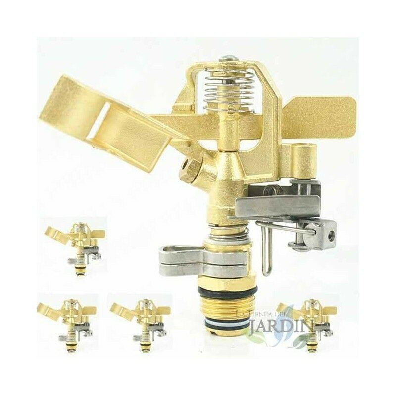 Confezione 5 irrigatori in ottone regolabili da 1/2' . Portata 10-15 metri. Portata da 9 a 20 litri / minuto