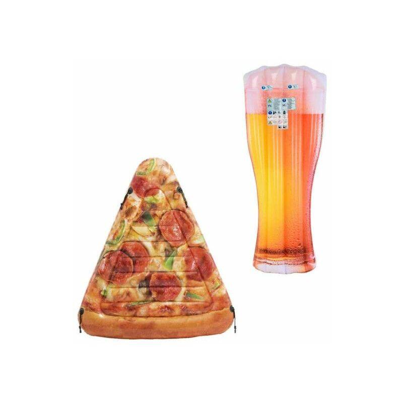 Confezione Materasso da spiaggia gonfiabile bicchiere di birra 180x75 cm - Materasso da spiaggia gonfiabile fetta di piz - DIVERS