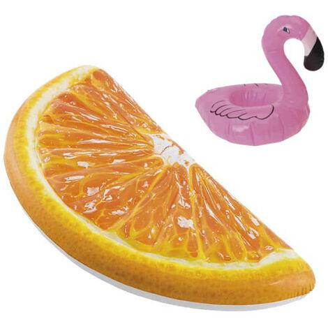 Confezione Materasso gonfiabile da spiaggia arancio quarto arancio 178x85 cm - Portabicchieri galleggianti modello fenic
