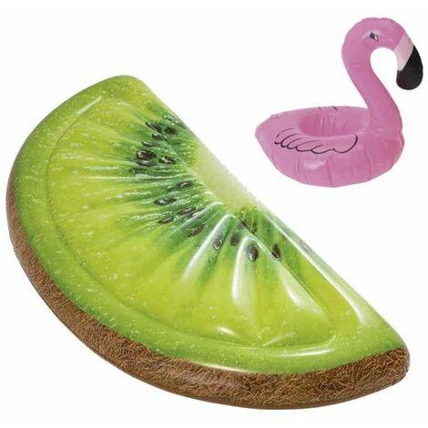 Confezione Materasso gonfiabile da spiaggia kiwi a fetta 178x85 cm - Portabicchieri galleggianti modello fenicottero ros