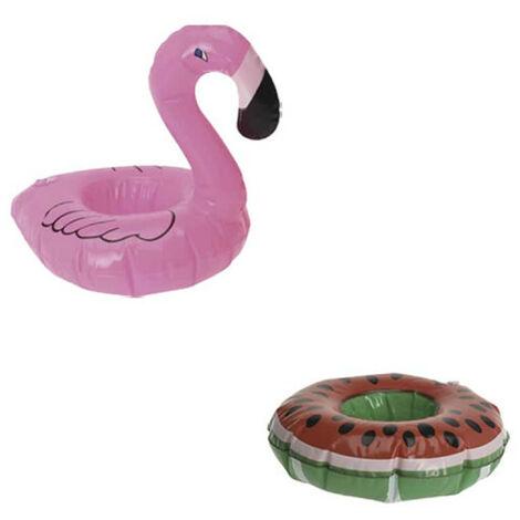 Confezione Portabicchieri galleggianti - Modello fenicottero rosa - Portabicchieri galleggianti - Modello anguria