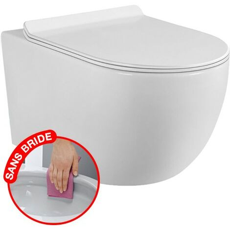 CONFORT - WC suspendu sans bride avec fixations invisibles + abattant ultra fin déclipsable + frein de chute