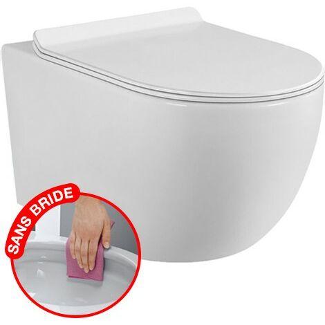 """main image of """"CONFORT - WC suspendu sans bride avec fixations invisibles + abattant ultra fin déclipsable + frein de chute - Blanc froid 6000K"""""""