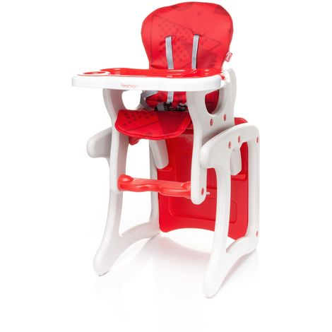 Confortable chaise haute / table enfant FASHI 2en1 | max 15kg | rouge - rouge