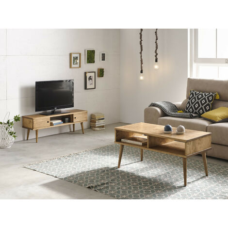 Conjunto 2 muebles: Mesa de centro diseno vintage + Mueble television, madera maciza natural, fabricacion artesanal