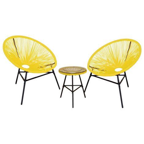 Conjunto 2 sillas jardin acapulco y mesa. Amarillo, Naranja, Negro, Blanco y Marrón - KieferGarden