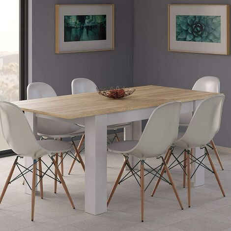 Conjunto 6 Sillas con Mesa de Comedor Extensible, , Medidas: 140-190 cm (Largo) x 90 cm (Ancho) x 78 cm (Alto)