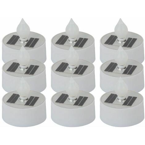 Conjunto 9 Lámparas solares LED Velas Efecto fuego Decoración aire libre Terrazas Jardín Tealights