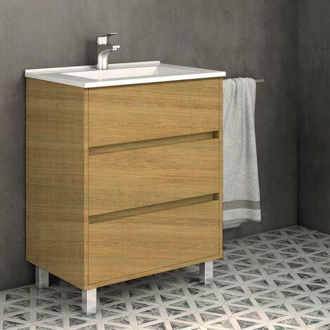 Conjunto ALCOA, Mueble de lavabo 60cm, espejo y aplique led