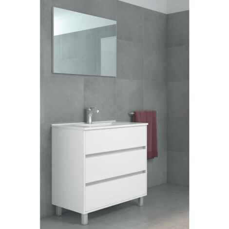 Conjunto ALCOA, Mueble de lavabo 80cm, espejo y columna