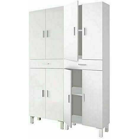 Conjunto Armarios altos baño auxiliar acabado Blanco Brillo, 180 cm (alto) x 142 cm (ancho) x 25 cm (fondo)