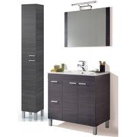 Conjunto Baño completo con Lámpara y Grifería Incluida, Mueble con Lavabo de PMMA (NO Clásica Cerámica) + Espejo + Columna (Gris)