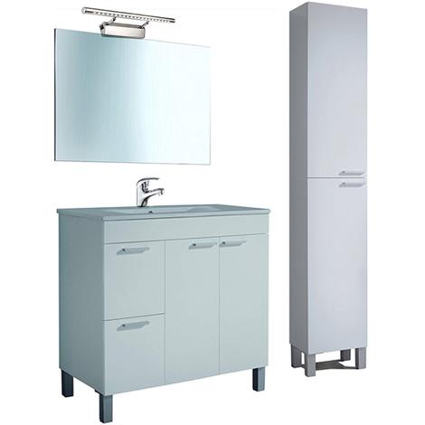 Conjunto Baño, Mueblecon Lavabo PMMA (NO Clásica Cerámica) + Espejo + Columna, Lámpara y Grifería Incluida