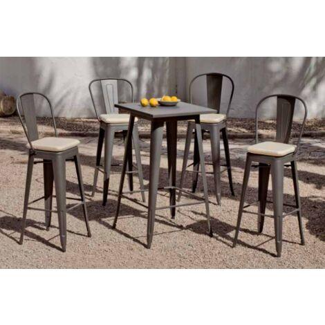 Conjunto bar terraza jardín mesa + 4 sillas acero Club-606/4 en acabado gris Color Gris