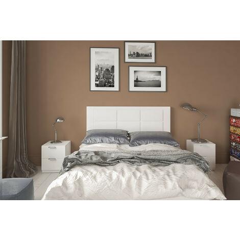 Conjunto cabecero tapizado Blanco + 2 mesitas de Noche Color Blanco.