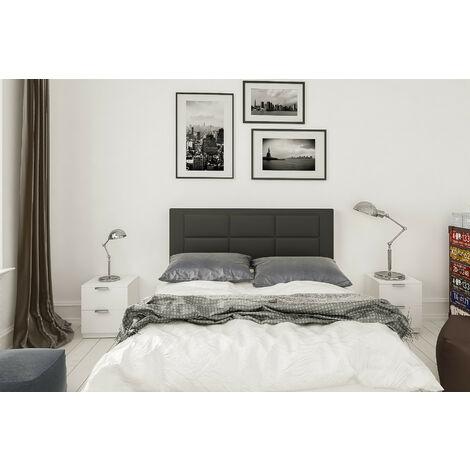 Conjunto cabecero tapizado Negro + 2 mesitas de Noche Color Blanco.