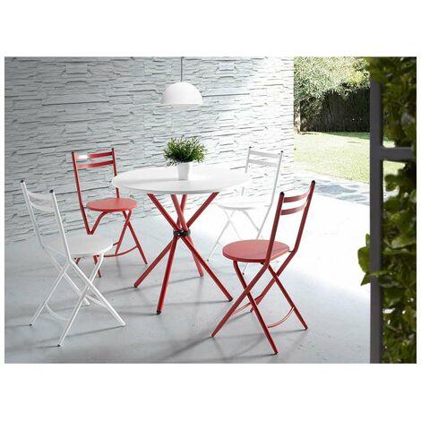 Conjunto cocina LAIA mesa 4 sillas en color rojo y blanco Color Blancoi/Rojo