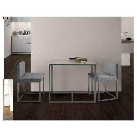 Conjunto cocina Sena mesa y 2 sillas. Color Negro-Gris