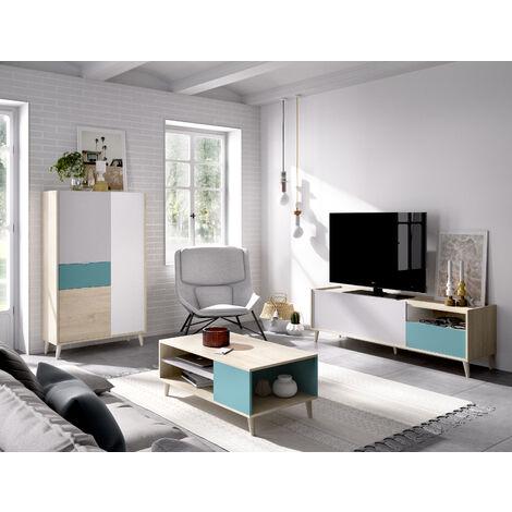 Conjunto comedor mueble TV, Aparador y Mesa de centro Natural y Esmeralda