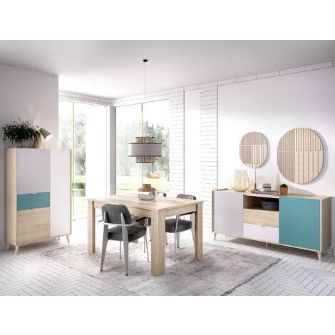 Conjunto comedor mueble TV, Aparador y Mesa de comedor Natural y Esmeralda