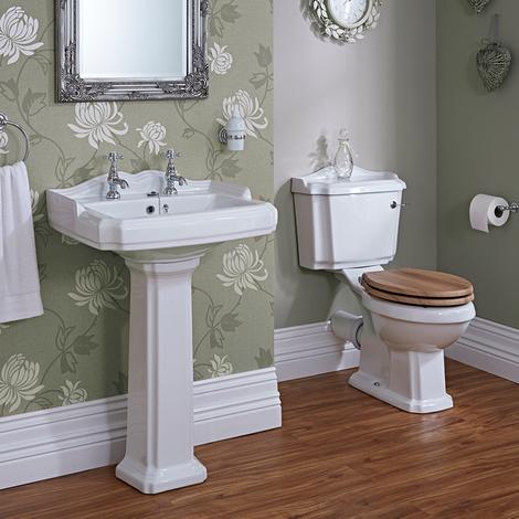 Conjunto Completo con Inodoro WC y Lavabo con Columna Tradicional en Estilo Retro