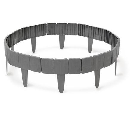 – Conjunto de 10 ribete, longitud total 250 cm aprox, plástico, aspecto piedra natural, jardín, frontera, garden border, gris