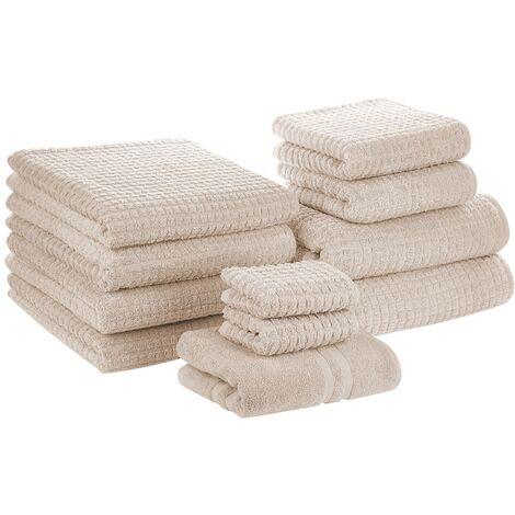 Conjunto de 11 toallas de algodón beige ATAI