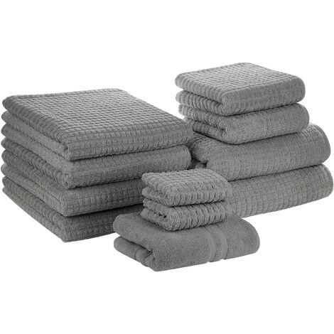 Conjunto de 11 toallas de algodón grises ATAI